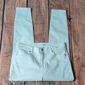 Loft Modern High Waist Skinny Ankle White Jeans